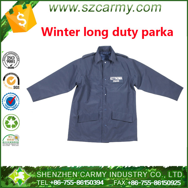 Dark navy windproof mens Winter long duty parka