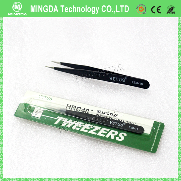 ESD black tweezers for static sensitive components , stainless steel tweezers VETUS ESD-11 in China