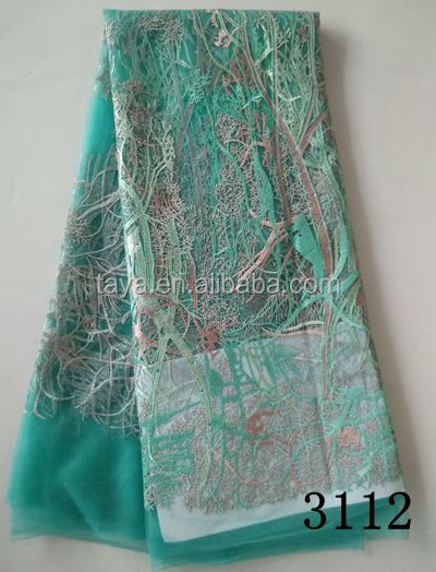 french mesh net lace tulle lace for wedding polyester tulle lace with peals for dress