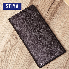 OEM/ODM Men Ultrathin Cowhide Leather Card Holder Long Classical Bifold Wallet