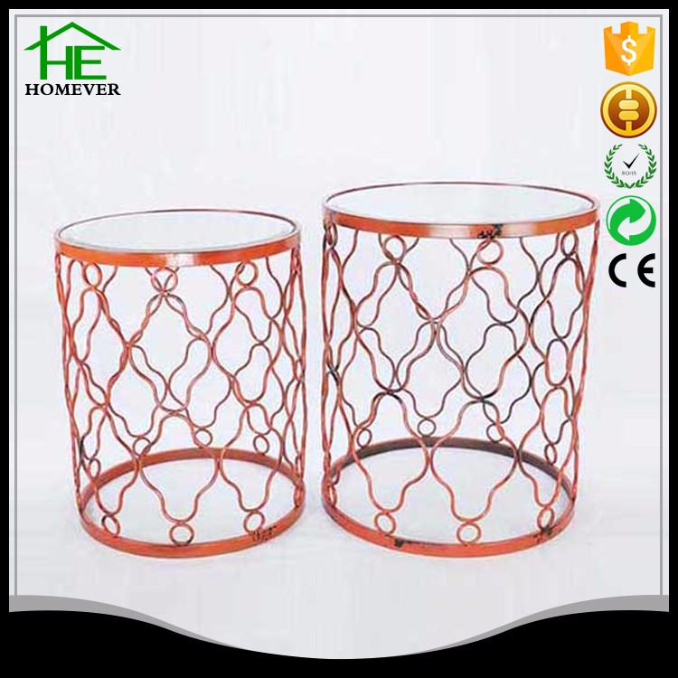 red small size wire mesh fancy rustic glass coffee table