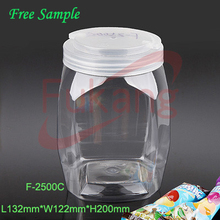 2016 Hot Sale Flat Square Shape Plum Candy Container Plastic Bottle