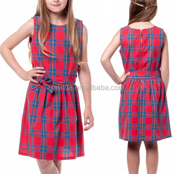 Plaid Pattern Ribbon Detail Sleeveless Dress GIRLS bayby kids 2t,4t,6y,8y,10y,12y,14y