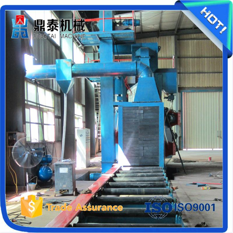 Auto H beam steel plate steel shot blasting machine for marine castings/tunnel cleaning machine