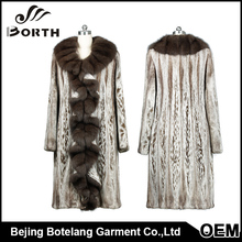 OEM Service Fashion Soft Shell Jacket Turnover colla quality sable skin golilla sable fur decoration fur coat for sale