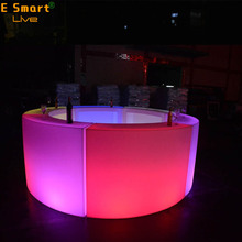 outdoor led bar counter/portable wireless/ Led Furniture plastic counter with led RGB lighting