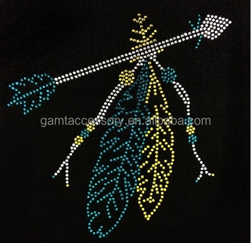 Indian feather and arrow custom rhinestone iron on transfers