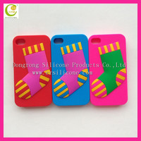 Christmas series hot selling factory stock promotional best gifts silicone rubber cell phone sock case for iphone 5s