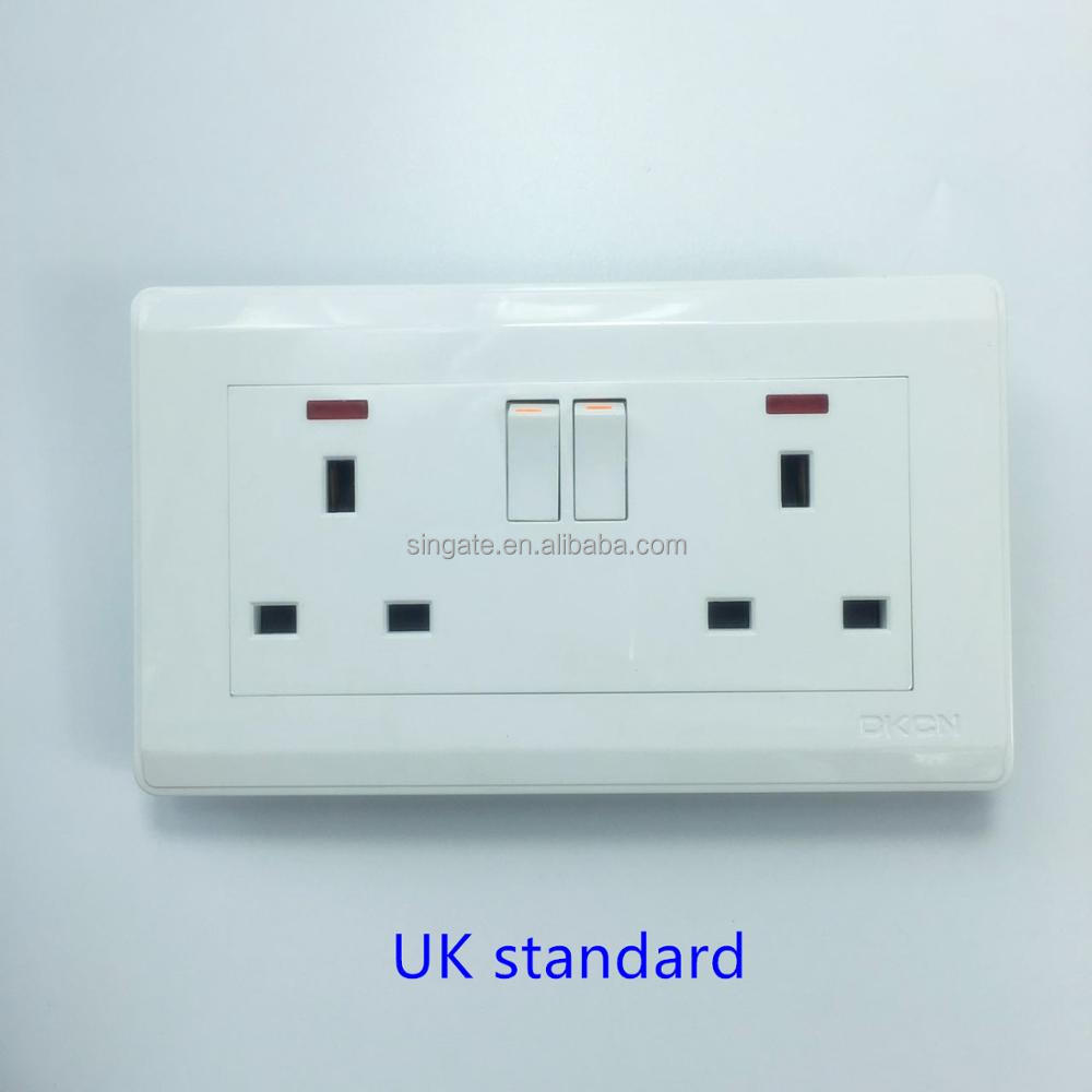 CE Approval British standard wall switch and socket electric plugs sockets 13 amp electric switched socket