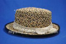 fashion ladies straw sun hat with lace bow