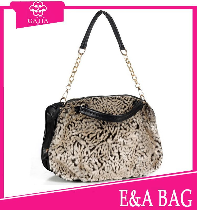 Luxurious fur PU stitching design sale well high quality large capacity ladies handbags from China