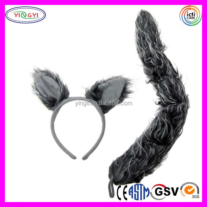 C057 Wolf Ears Headband Tail Set Gray Halloween Mask Party Favor Plush Halloween Wolf Mask