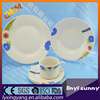 20pcs Round Porcelain Dinnerware, White Tableware with Gold and Blue Square