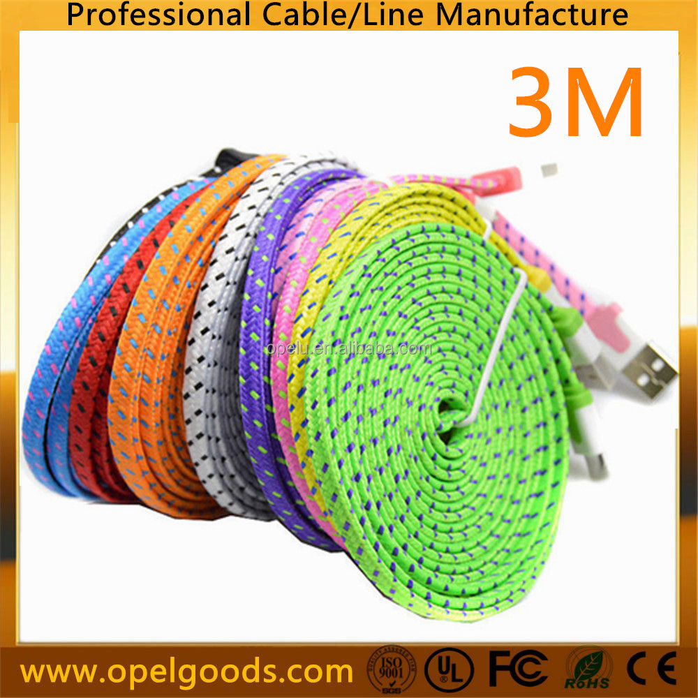 Nylon Braided Noodle 3M 8pin Charging USB Data <strong>Cable</strong> For iphone 7 7s