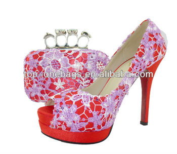 2014 African lace fabric shoes wedding high heel shoes with bags to match for women