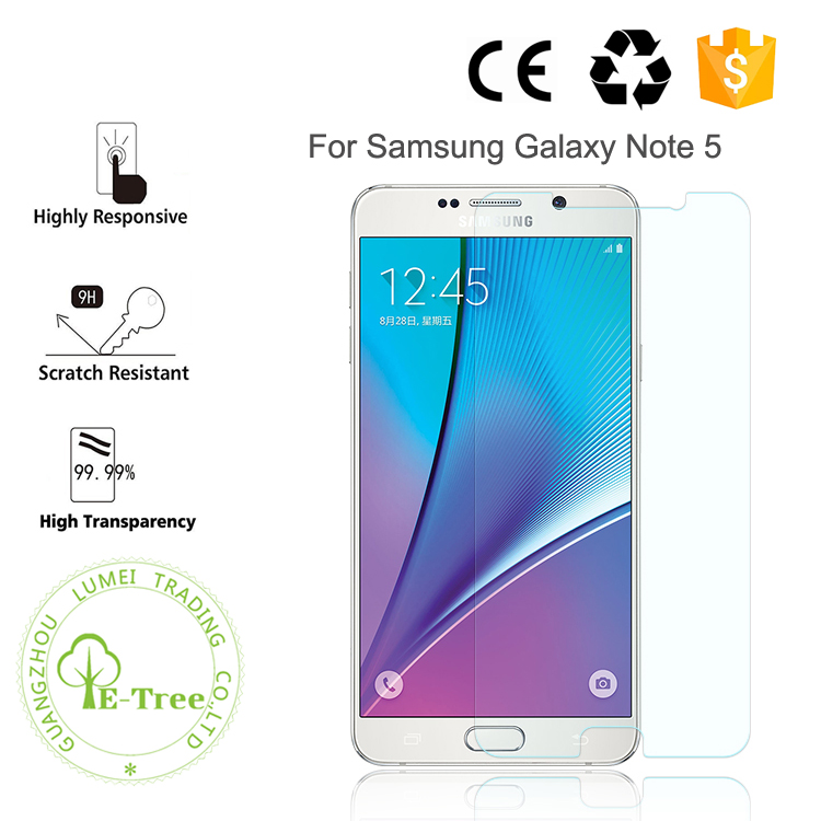 2.5D 9H Anti Scratch Tempered Glass Cell Phone Screen Protector For Samsung Galaxy Note 5