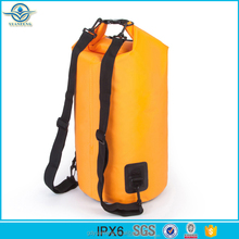 China manufacture custom logo high quality 5L 500D PVC tarpaulin waterproof dry bag with shoulder strap for outdoorsports