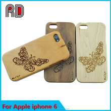 Mobile phone accessories, wood grain leather phone case for Iphone 6