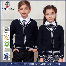 Wholesale School Black Cardigan Unisex Stylish Kids School Uniform/Sweater