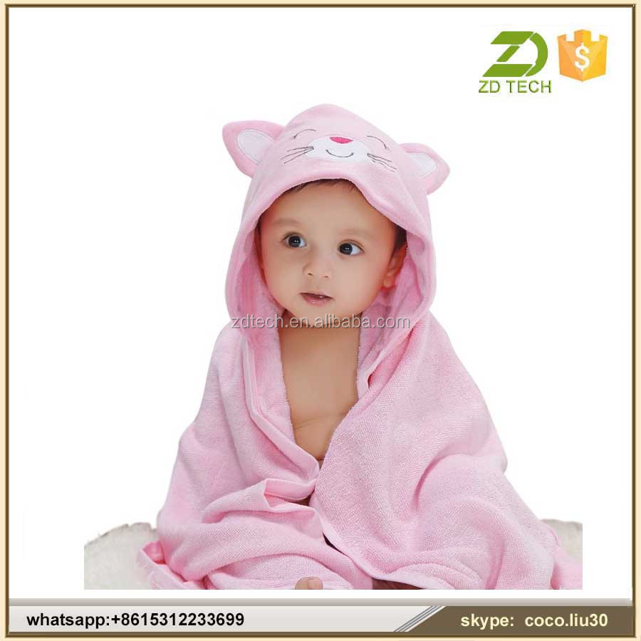 wholesale plain organic 100% cotton baby bath hooded towel with animal hood ZDT188