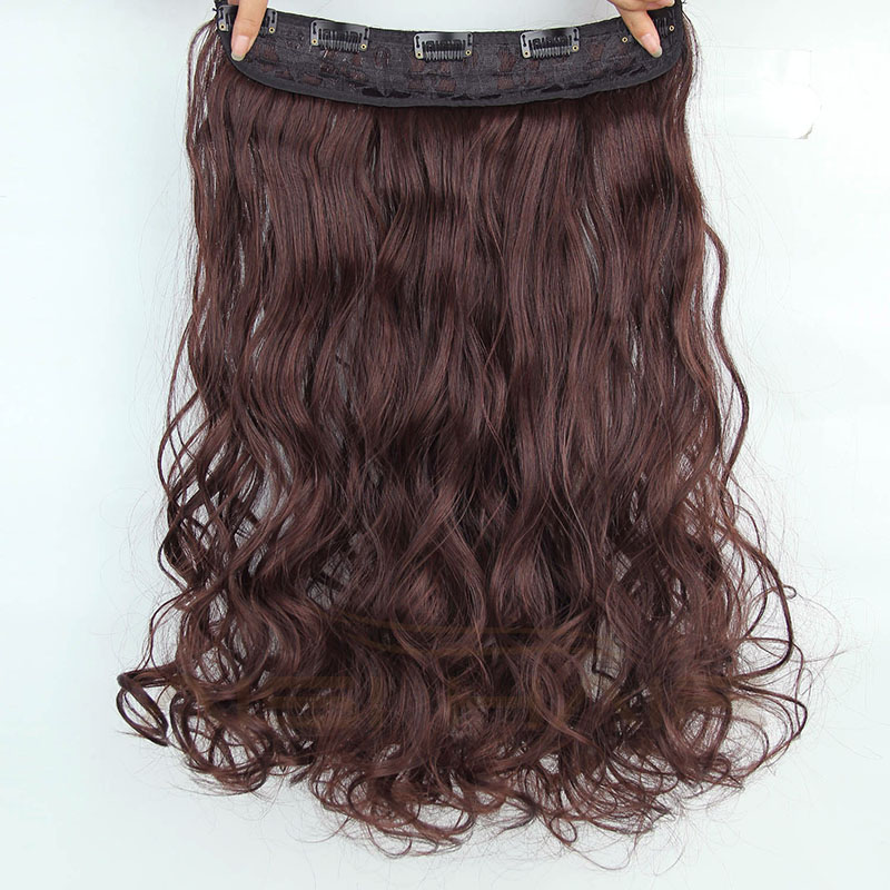 Cheap 24 Inch Heat Resistant Synthetic Long Curly Wavy 5 Clip in Hair Extension