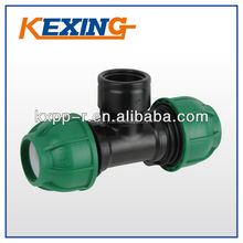PN10 high quality plastic injection Female thread Tee PP Compression Fittings