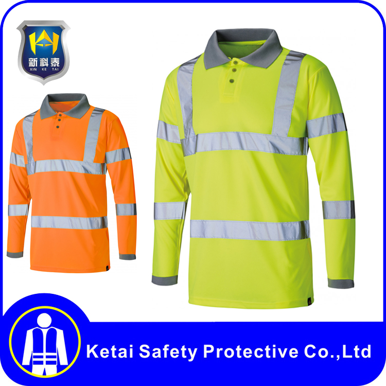 OEM Safety wear Long Sleeves High Visibility Safety Polo Shirt