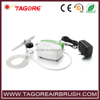 Tagore TG216K-20 Professional Portable Oiless Tanning Body Paint Mini Airbrush Compressor Set