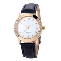 genuine leather geneva quartz stainless steel watch women japan movt diamond quartz watch