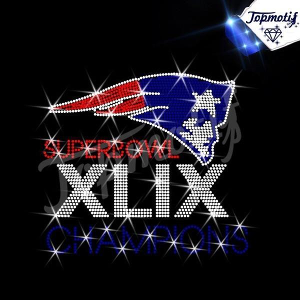 Rhinestone Applique Football Team Patriots Super Bowl Hotfix Motif Heat Press