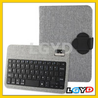 New design Linen Bracket Leather Case with Detachable Wireless Bluetooth V3.0 ABS Hard Key Keyboard for iPad mini (Grey)