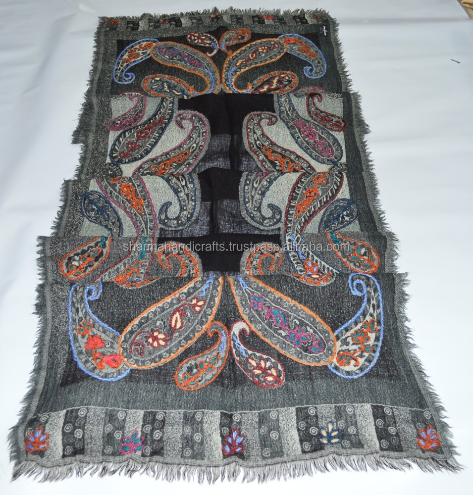 latest hand embroidery boiled wool scarf