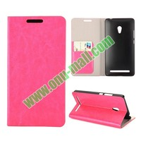 2014 Hot New Crazy Horse Texture Magnetic Folio Flip Leather Case for Asus Zenfone 6