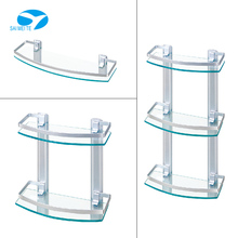 modern wave bent bathroom glass wall corner shelf design