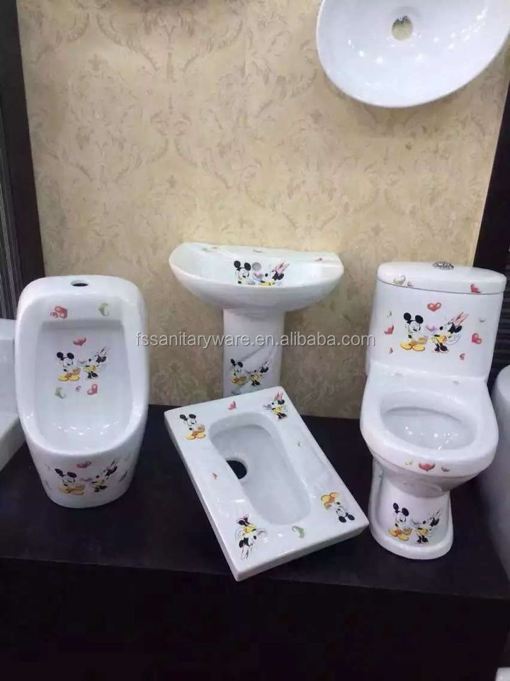 water closet brands, small toilets for children, Mickey picture kids toilet+kids wash basin+urinal for cheap wholesale