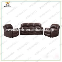 WorkWell cheap luxury PU leather living room furniture sofa set Kw-Fu11(2)b