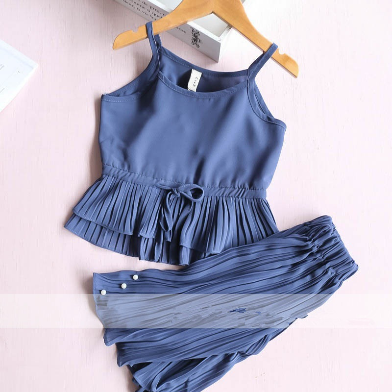 2-7 years 2017 New Girls Summer Sets Strap Top+ Pearl wide leg Pants Sets Kids Clothing Sets Wholesale