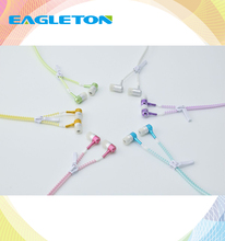 In-Ear Zip Zipper Style Sport Free Sample Headphone Earphone With Mic 3.5mm