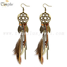 Townshine Punk vintage zinc alloy earrings long tassel earrings for women feather beads drop wolf tooth pendant earring jewelry