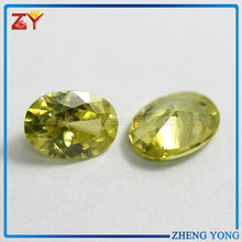 2015 Fashion Normal Cut Artificial Bright Peridot Yellow CZ Beads