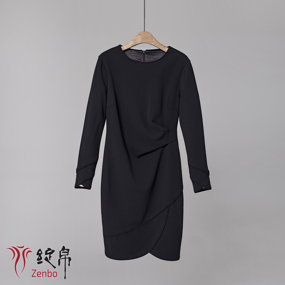 Long sleeve asymmetrical ruffle dress in crepe jersey