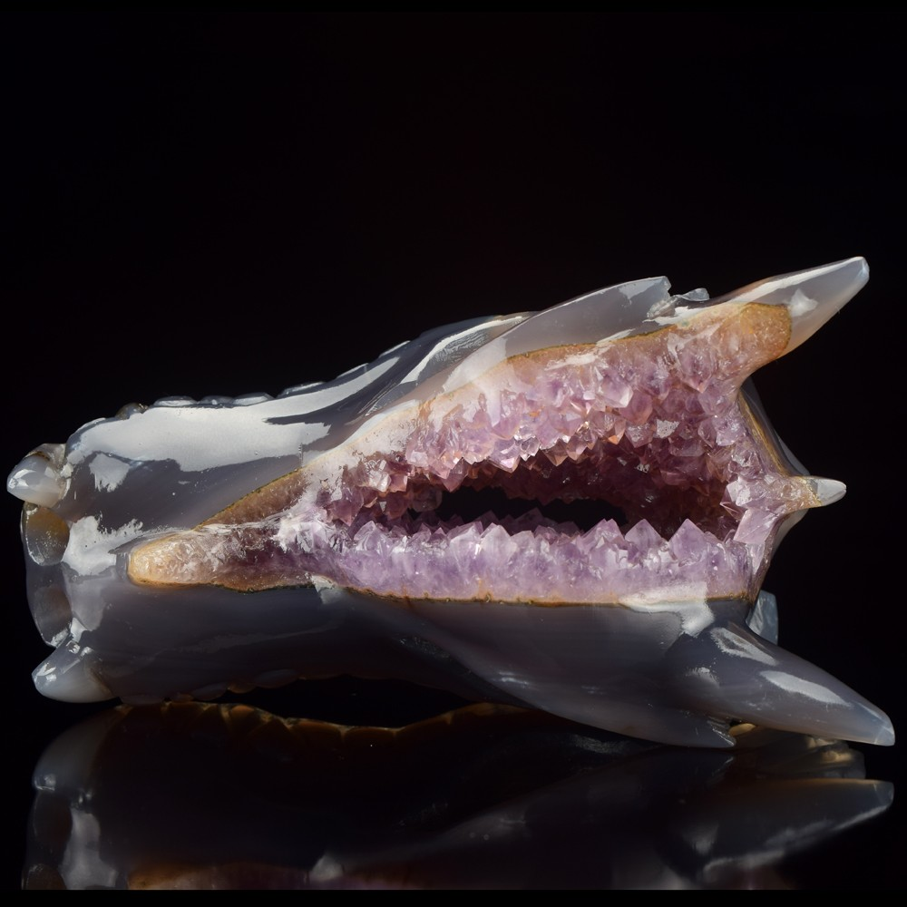 New arrive hand carved Agate geode crystal dragon skull for sale