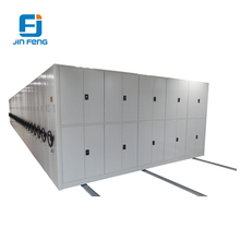Space saving metal automatic file cabinet compactor, mobile mass shelf, steel storage rack
