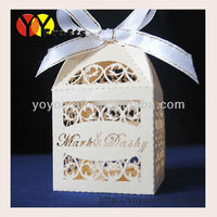 Free ribbon! various colors wedding decoration fence lasercut wedding box favor box adding the names and dates for free