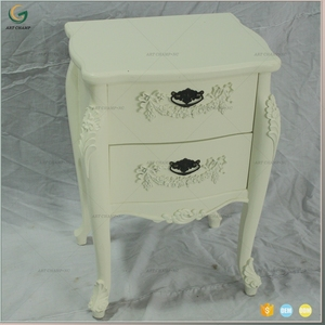 French Style Classic Design 2 Drawer Wooden Night Stand Bedroom Furniture
