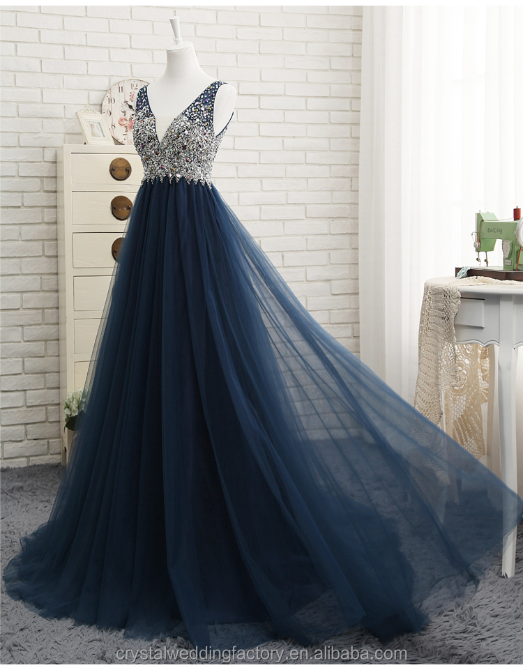 A-Line V-Neck Beading Crystal Long Formal Gown Navy Blue Prom Dress CWFP2437