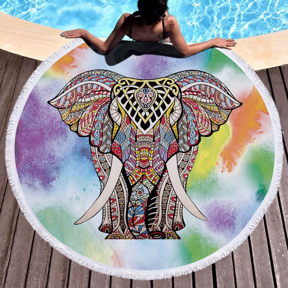 thick large animal design gypsy custom Microfiber Printed Velour round beach towel
