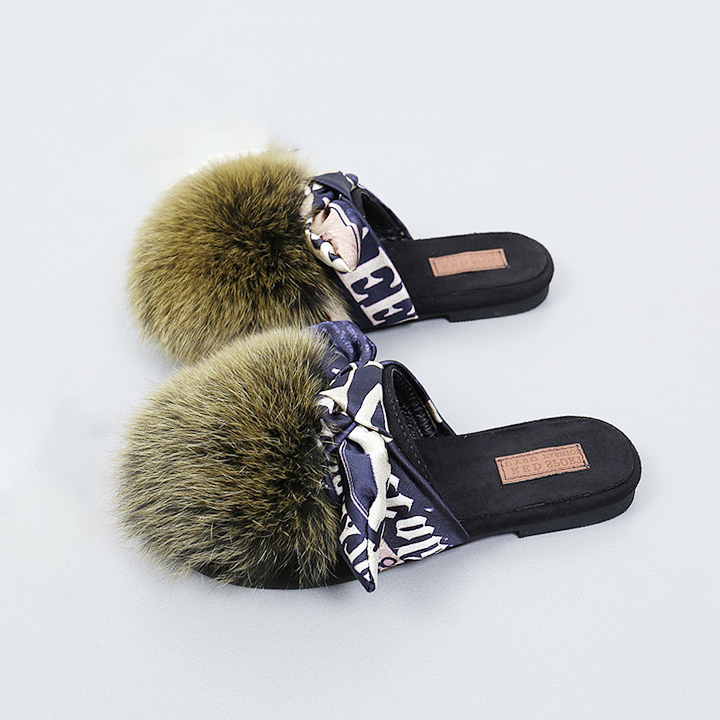 Wholesale Cheap price New design custom bowknot shoes Plush slippers <strong>slides</strong>