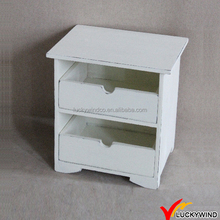 White Wood Shabby 2 Drawers Under Desk Under Table Cabinet