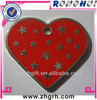 Red heart star enamel metal dog tag with ballchain manufactory